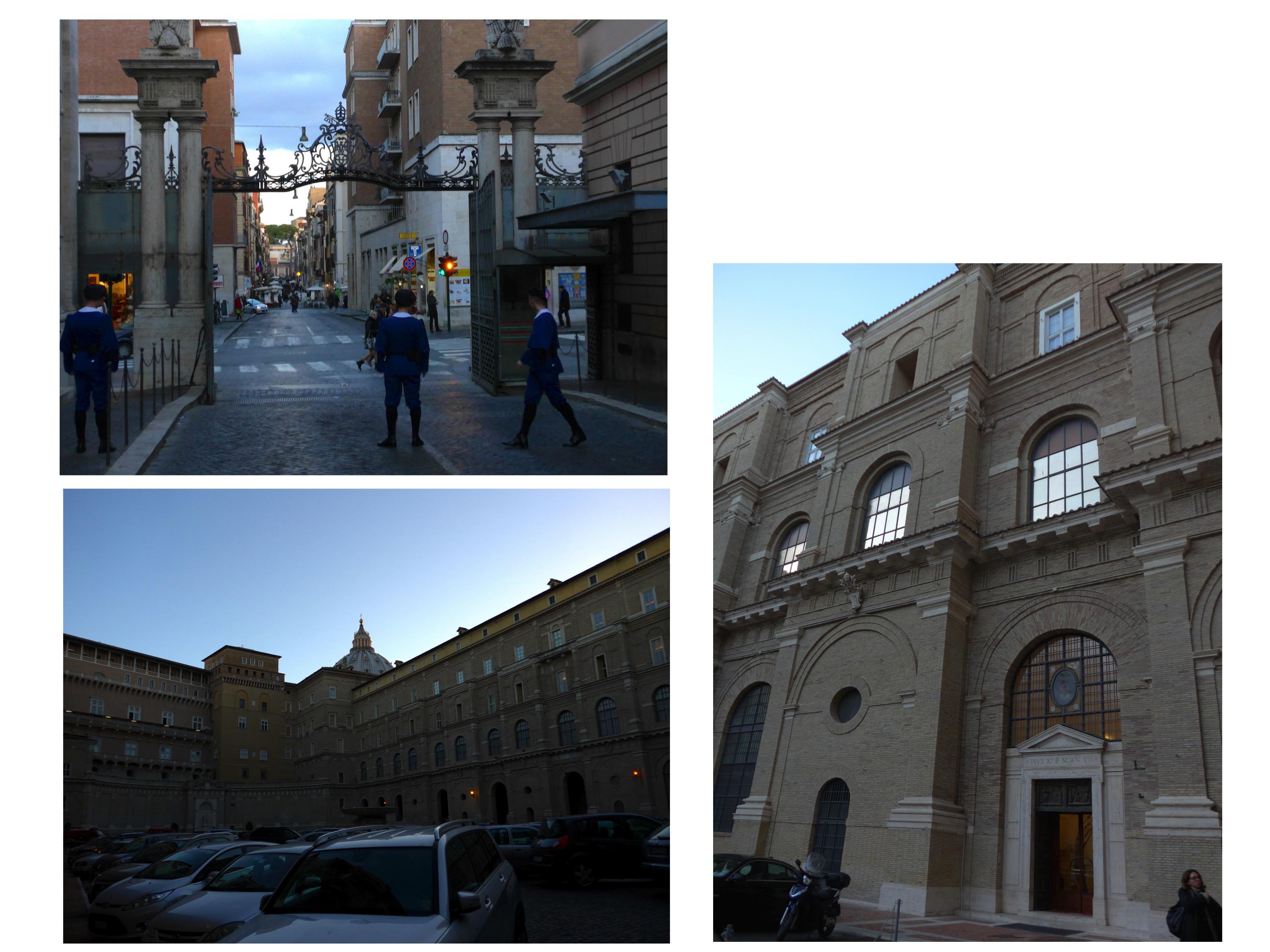 写真1左上:サンタ・アンナ通用門のスイス衛兵(手前側がヴァティカン市国)。左下:図書館がある回廊の向こうの、サン・ピエトロ大聖堂クーポラ。右:図書館の入口