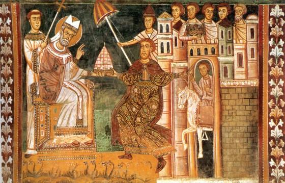 図1:教皇シルウェステル1世とコンスタンティヌス1世のモザイク画(1247年、ローマのサンティ・クアットロ・コロナーティ聖堂内サン・シルヴェストロ礼拝堂)