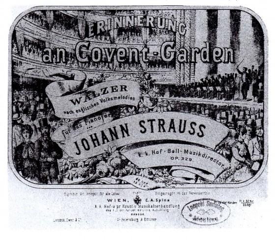 図1 ヨハン・シュトラウス2世:《コヴェント・ガーデンの思い出》ピアノ独奏楽譜の表紙