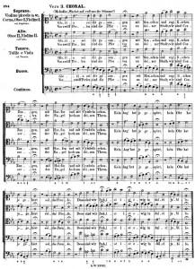 譜例1:J. S. バッハ:カンタータ BWV 140《目覚めよと呼ぶ声が聞こえ》より終曲(第3節)