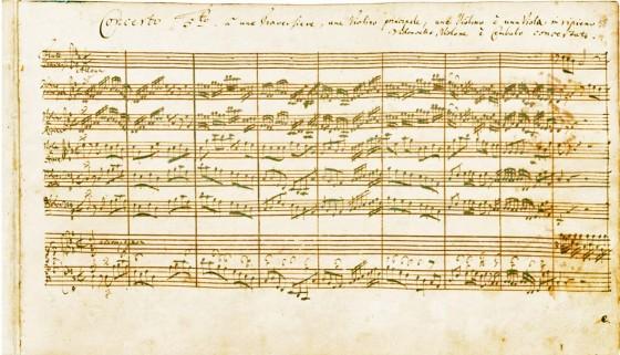 譜例1:バッハ作曲《ブランデンブルク協奏曲》第5番 BWV 1050 第1楽章冒頭