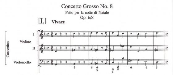 譜例1 コレッリ:コンチェルト・グロッソ op. 6-8、原典版、冒頭ソロ声部