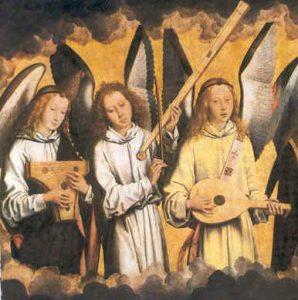 図1:メムリンク『奏楽の天使』左パネルより