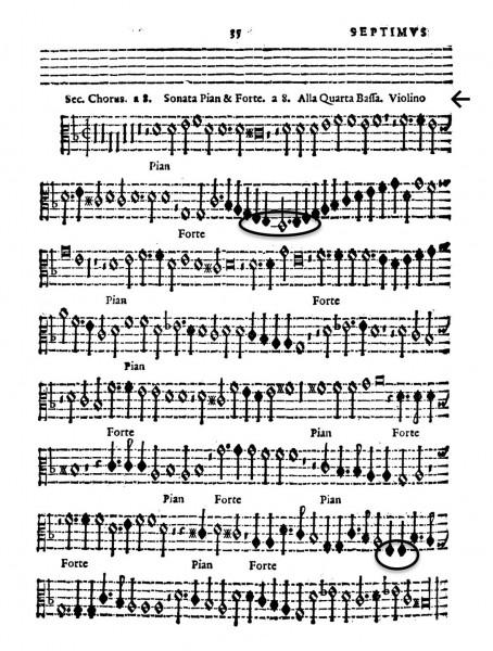 譜例1:ジョヴァンニ・ガブリエーリ《8声のピアノやフォルテのソナタ》第7声部(「サクラ・シンフォニーア》(ヴェネツィア、1598)より)